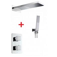 Комплект CUBE термостатичен смесител за вграждане с пита и ръчен душ